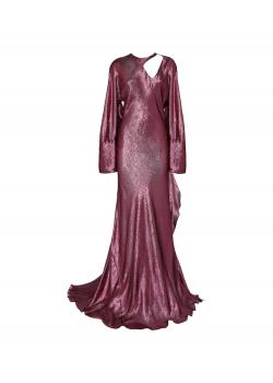 Long pink lamé dress with rear neckline