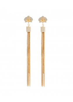 Crystal embellished gold-plated earrings