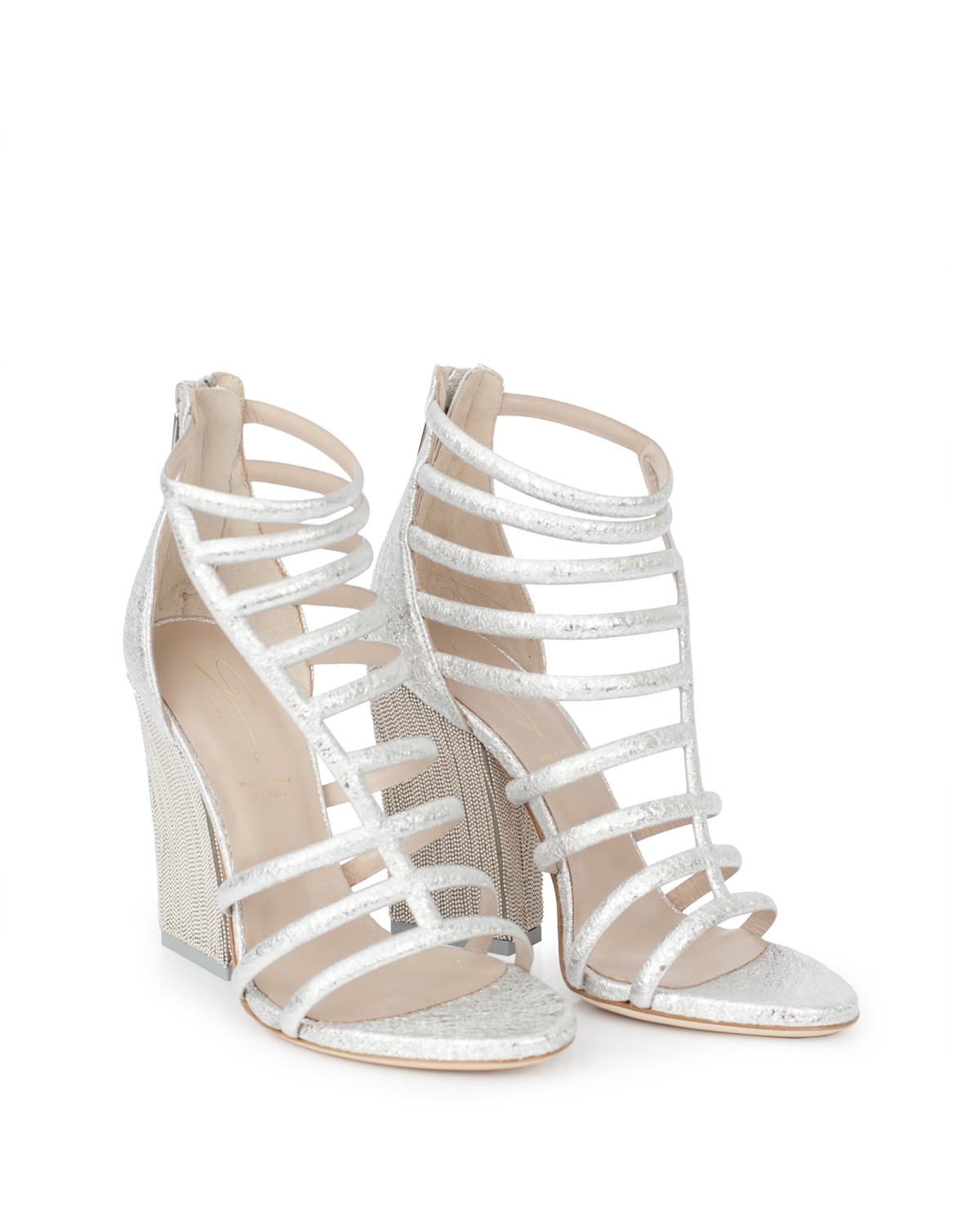 15e990d3ed02 Silver-laminated leather sandals with decorated heel