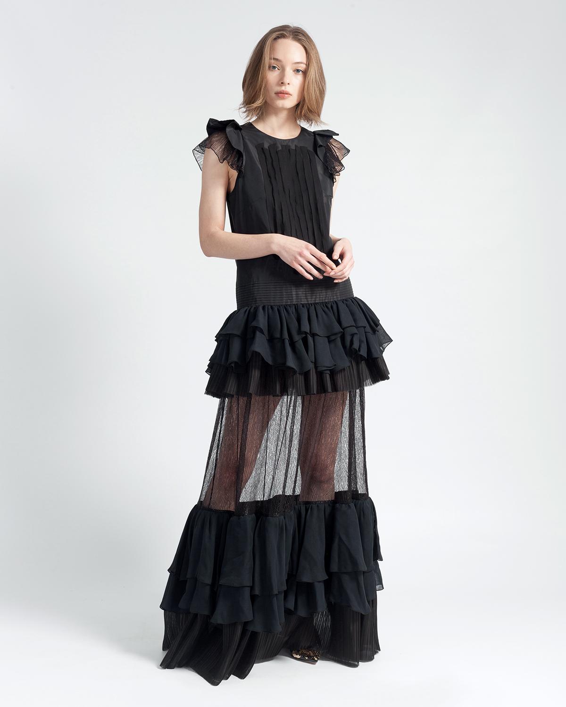 Ruffled Taffeta Dress